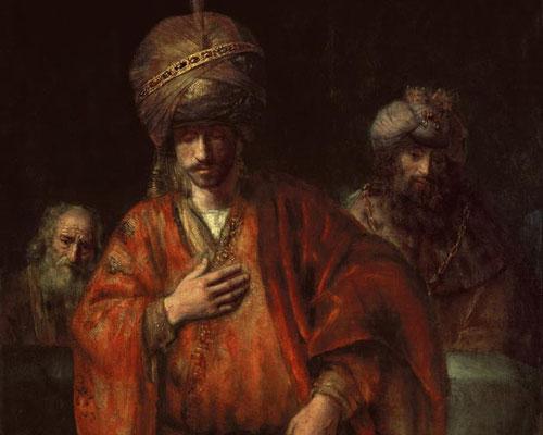 Rembrandt, Caída de Haman, 1660. Representa a tres personajes embargados por sus sentimientos, miradas y gestos inconexas que han dado pie a varias interpretaciones.La profunda psicología del personaje central le otorga un aire de dramatismo.