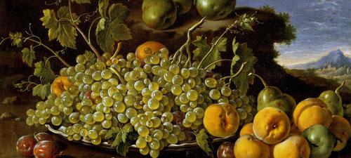 Luis Egidio Meléndez, Bodegón con plato de uvas, melocotones, peras y ciruelas.1771.Toda una visión amable de la abundancia de la naturaleza en los meses de otoño.