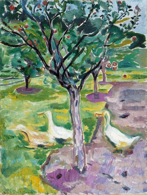 Gansos en un huerto 1911.Óleo sobre lienzo 90x68cm.Museo Thyssen.