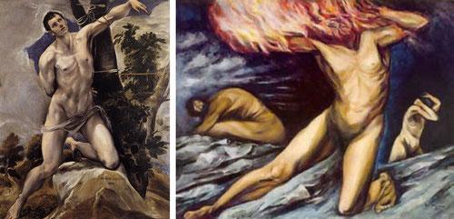 Clemente OROZCO con Prometeo 1944 toma como punto de partida a San Sebastian del Greco de 1577.Tal vez con mas fuerza Orozco este artista mejicano, quien pinta este primer mural en EEUU.
