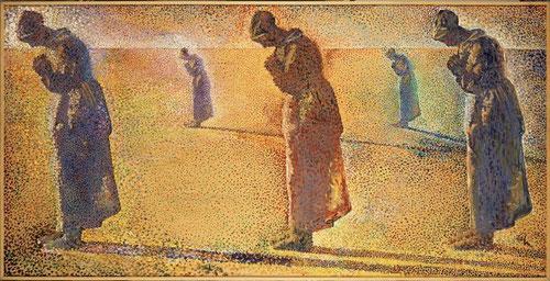 Aurora,mediodía, atardecer y crepúsculo,1979.Vertiginosas vibraciones de color creando espacios de paz y silencio.Sombra diagonal ascendente,técnica puntillista con división de la luz que invita al misterio..el devenir del dia y homenaje a Millet.