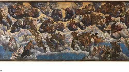 Tinto retto,El Paraiso 1558. Museo Thssen,174x494cm. Complejo análisis iconográfico y semáantico de la pintura para la Sala del Gran Consejo del Palacio Ducal.