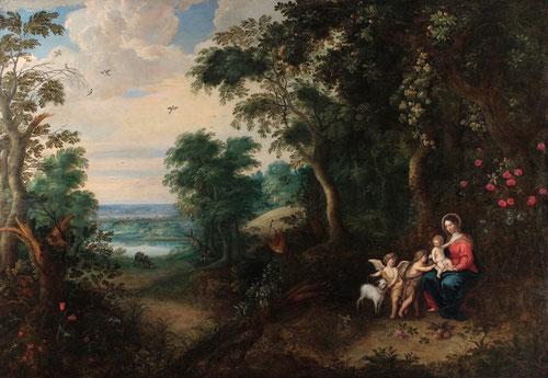 Jan Brueghel el Joven.Paisaje boscoso con la Virgen y el Niño,San Juan Bautista y un ángel.1645-50.Óleo sobre lienzo.115x167cm,Como primogénito inició su obra en el taller de su padre,en el centro de su obra siempre hay un vacío,parece un mosaico.