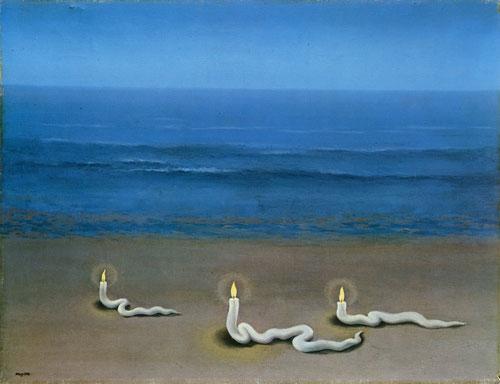 """La Meditación.Magritte1936,pintor belga inconformista crónico.Acepta el juego indescifrable contraponiendo dos mundos imposibles,de forma que su""""tromp-l´ésprit""""son errores del pensamiento.La paradoja de Magritte es que su pintura es un medio para pensar"""