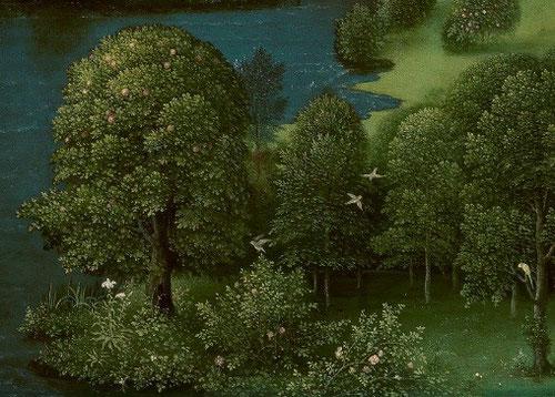 Detalle del bosque frondoso en la orilla de la laguna Estigia de Patinir, pintado con gran maestria.Hacia 1520