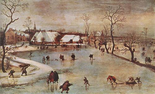Jacob Grimmer.El Invierno 1577. A vista de pájaro contemplamos un canal helado donde bulle la vida, al fondo tejados cubiertos de nieve un tono azul verdoso dialoga con un cielo invernal.