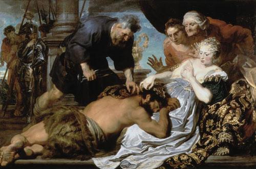 """Van Dyck.Sansón y Dalila.Óleo sobre lienzo 151X230cm,Londres.Pintado en 1618. Su habilidad en la composición, teniendo como fuente visual a su maestro Rubens,pero con mas intensidad dramática y con mayor tensión narrativa.Pincelada rugosa,seca""""non finita"""""""