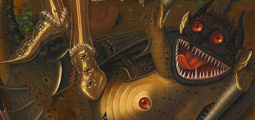 Detalle de San Miguel Triunfante sobre el demonio con el donante Antoni Joan.Londres National Gallery.San Miguel pisotea una espantosa criatura o dragón que representa el demonio, relatado en el Apocalípsis.Su armadura dorada al fuego con incrustaciones.