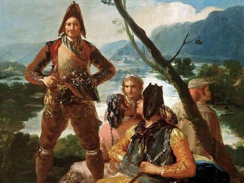 Goya,el resguardo de tabacos,1780.Museo del Prado.La figura principal de pie, evoca fortaleza para combatir el contrabando y ganarse el respeto de la población.Era monopolio fiscal de la Corona y suponia un cuarto de los ingresos del erario público.