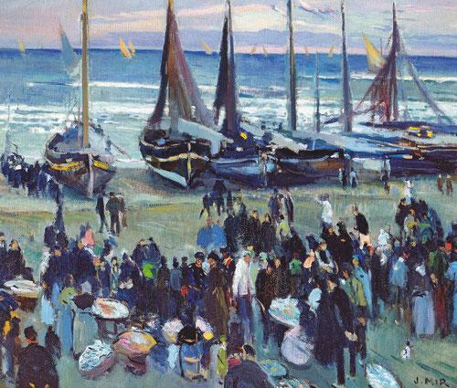 Joaquin Mir.Mercado del pescado en la playa 1922