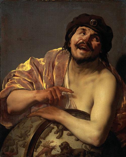 Hendrick ter Brugghen.Demócrito 1628.Óleo sobre lienzo 85x70cm.Amsterdam Rijksmuseum.