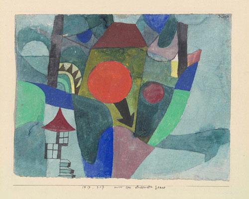 Paul Klee.Con el sol poniente.Movimientos circulares determinados por el sol parten como líneas de fuerza que consolida un centro propulsor de dinamismo...el sol es la fuerza desencadenante, una estructura simétrica equilibrada.