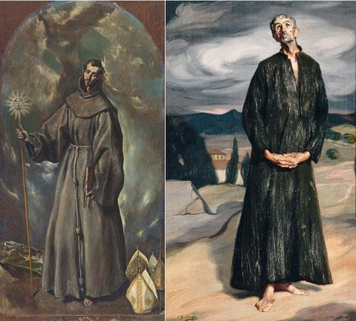 Derecha:El anacoreta de ZULOAGA 1907,Musée D´Orsay junto a San Bernardino de Siena del Greco pintado en 1603.M.Prado en Madrid.La influencia cretense de Zuloaga llegó en plena Guerra Civil española.