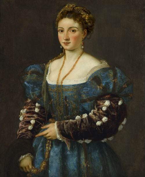 Tiziano.Retrato de una mujer,La Bella.1536.Óleo sobre lienzo.89x75cm.Florencia Palacio Piti. Obras paradigmáticas en su género, en este caso estamos ante un retrato real, sin darle una identidad, rasgos que se reconocen de Tiziano por su familiaridad.