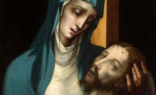 Un contrapunto que evidencia a la Virgen con el Niño en brazos,destaca la apariencia incorpórea y casi quebradiza,expresividad latente y silenciosa,imagen perfecta de La Piedad en la Europa ya dividida SXVI,entre católicos y protestantes.