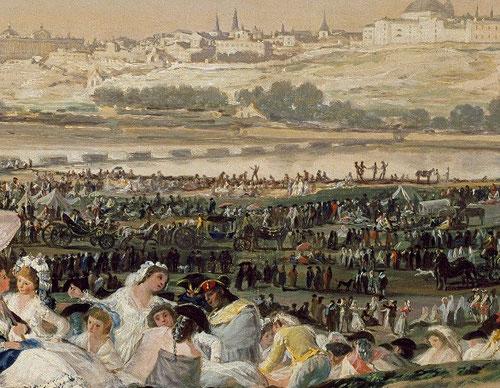 La emblemática obra de La Pradera de San Isidro,1788, forma parte de la leyenda urbana de los que entonces era villa y corte de la capital, bullicio de fiesta, alegria proverbial, consiguiendo el ideal político e inalcanzable unión de clases sociales.