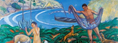 Joaquim Sunyer.Mediterráneo 1910.Óleo sobre lienzo.85x130cm.Museo Thyssen Madrid. Quiso recuperar el espíritu del Renacimiento y del clasicismo, un mundo feliz en La Arcadia.Entre el clasicismo y primitivismo.