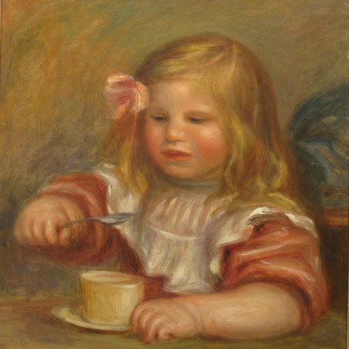 Coco tomando sopa 1905.Óleo sobre lienzo 45x38cm.Worcester Art Museum.Donación de la colección Chapin y M.Riley. Se inicia su último estilo, el que suele entenderse como un clasicismo arcádico, generalizado y límpido.
