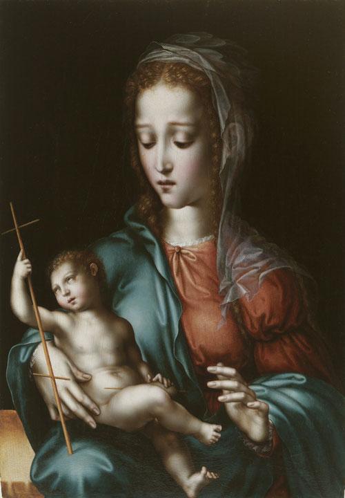 La Virgen y el Niño,1566. Siguiendo fórmulas compositivas de Leonardo da Vinci, una imagen de la Devotio Moderna, la expresión de un nuevo espíritu reformista.