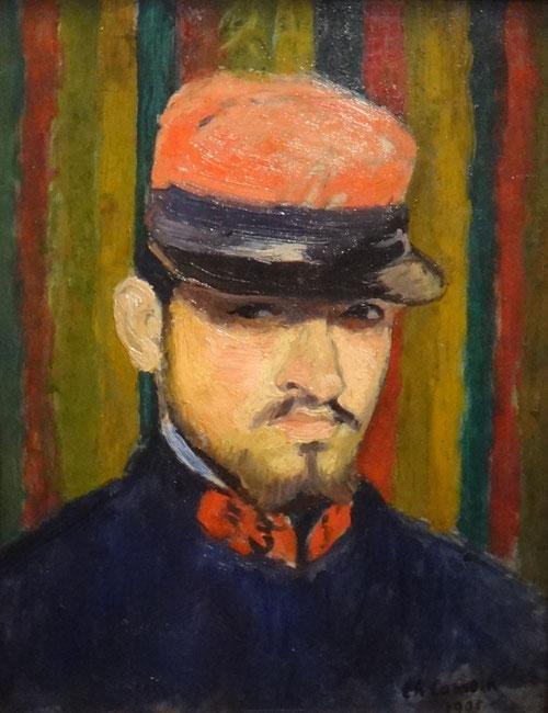 Charles Camoin. Autorretrato como militar. Aprovechando que estaba de servicio en Aix-en Provence, visitó a Cézanne que marcaría su estilo para siempre.