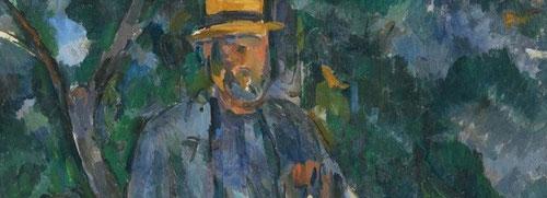 Cézanne.Retrato de un campesino,1905-6.Óleo sobre lienzo.64x54cm.Museo Thyssen.Una de sus obras finales, cuya identidad no se conoce,rasgos faciales sin definir.