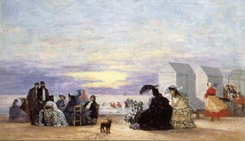 Eugène Boudin.Escenas de playa al atardecer 1864.Coleccion Perez Simon.,Mexico.Por su extensa playa de fina arena,no tardaron en atraer a una aristocracia acostumbrada a los baños de Brighton.A finales de los 30 se creo el 1ª Salon de Bains.