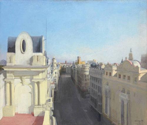 María Moreno.Gran Vía II.1990.Óleo sobre lienzo,103x120cm.Colección privada.