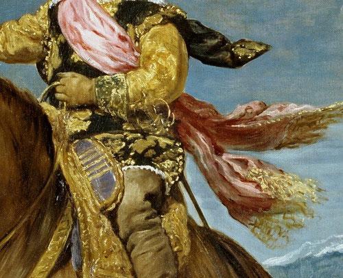 El príncipe Baltasar Carlos a caballo. Simboliza la continuidad dinástica, quien gobierna su montura sin aparente esfuerzo, simboliza la capacidad para regir su reino, murió a temprana edad.