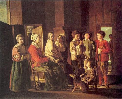 Louis La Nain (1600-48) La visita a la abuela, tambien llamado, interior de una casa cristiana con niños tocando la flauta, escena muy habitual en los pueblos franceses. El tema último son las edades de la vida, muy habitual en el XVII.