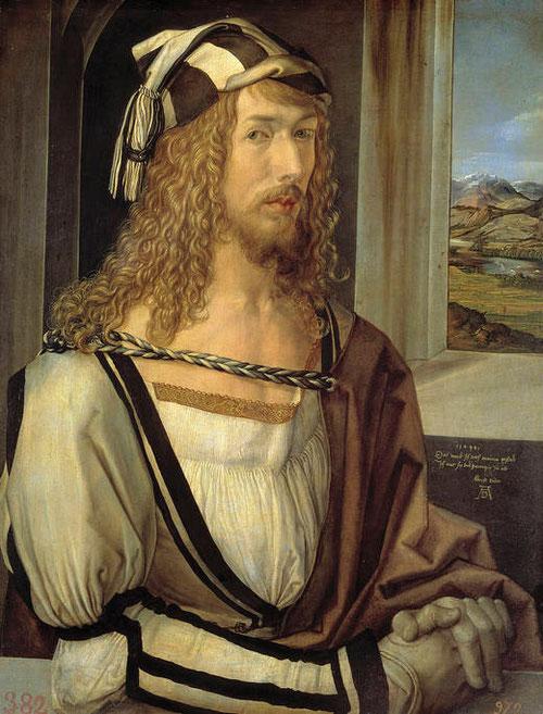 Alberto Durero,autorretrato,1498.Óleo sobre tabla.52x41cm.Colección Real. El Renacimiento trae la recuperación por el retrato.