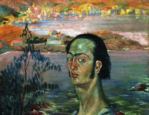 """Dalí,autorretrato con cuello rafaelesco,1921.Cabeza en luz tamizada irrumpe en el centro del paisaje como un """"ecce homo"""".Con 18 años adopta esta postura melancólica de Rafael, quien se autorretrata en 1506,Galeria Uffizi,con esta curva dorsal acentuada."""