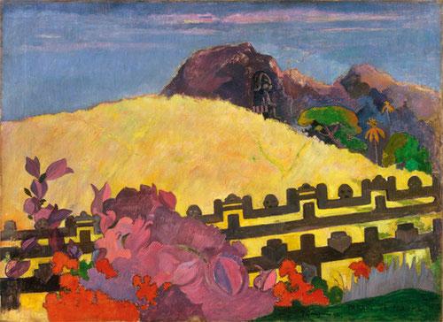 Paul Gauguin, Parahi te marae (ahí esta el templo ) 1892 Lo primero que le sorprende son los perfiles de las ecarpadas montañas en las islas, telón de fondo de sus pinturas, sus mitos y leyendas..