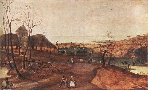 Jacob Grimmer.Otoño 1577. Tonos pardos que reflejan las diferentes capas de la tierra, trabajos como talar árboles,recoger leña, conducir las vacas, todas ellas labores de fin de otoño.