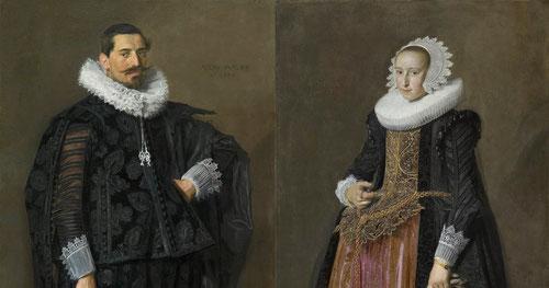 Frans Hals Jacob Pietresz y su mujer Aletta Hanemans retratados en posturas enfrentadas en 1625 según protocolo habitual.Ropas y complementos subrayan su estatus social emprendedores comerciantes de Harlem.