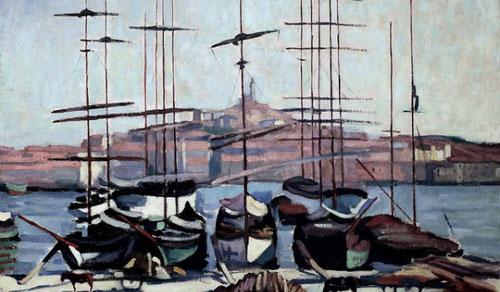 Camoin se instala en el Puerto de Marsella. Un clasicismo que habla de tradición y primitivismo, pero tambien de modernidad.Óleo sobre lienzo 65x81cm.Museo de Arte Moderno El Havre.