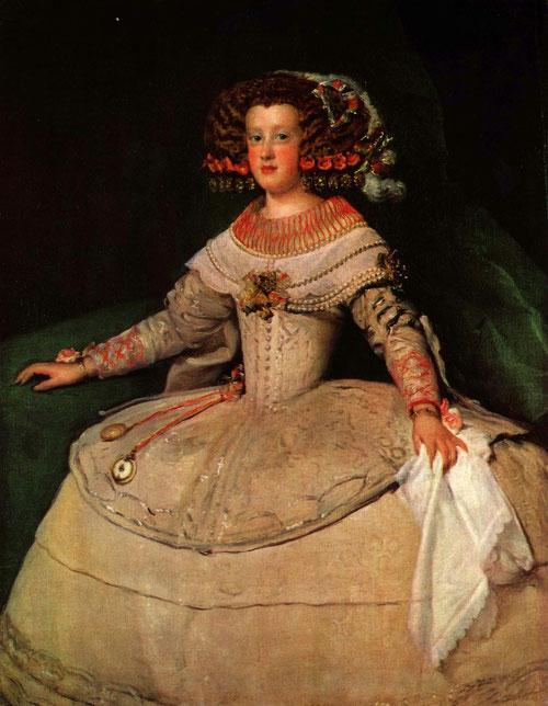 La infanta M.Teresa era la única hija que le quedaba a Felipe IV cuando casó con Mariana de Austria en 1649.Casó con Luis XIV en 1660 poniendo fin a la guerra con Francia.Magnífico retrato más vivaz y ligero, con expresión franca y despierta.