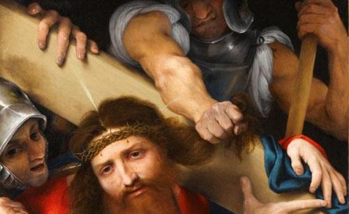 Cristo con la cruz a cuestas 1526.Óleo 66x60cm..Firmado sobre travesaño de la cruz.París M Louvre.Viste túnica color rojo con aire sosegado y doliente, las lágrimas resbalan por sus mejillas mientras el soldado se aferra con violencia a un mechón.