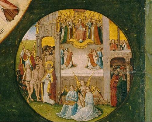 Multitud de almas se agolpan en esta escena del  Paraiso terrenal para contemplar la gloria de Dios ante Cristo en Majestad. Mientras unos ángeles tocan instrumentos musicales en primer plano.