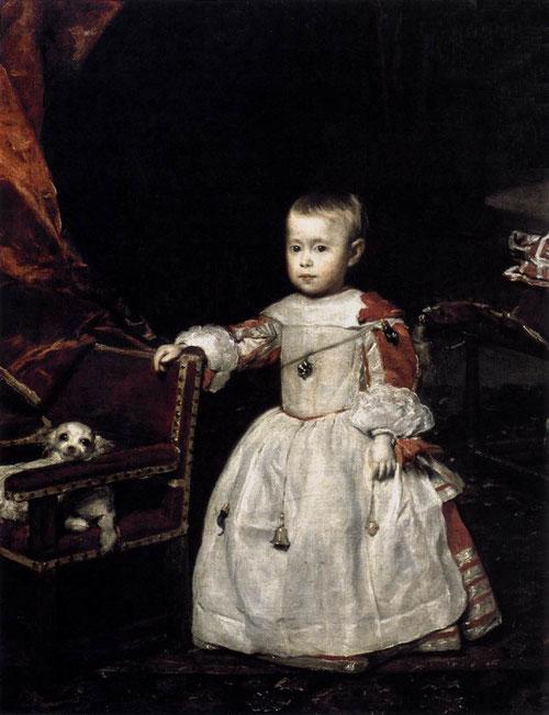 Felipe el Próspero, fue tejiendo una densa red de temores, esperanzas y ansiedades.Velázquez resume con eficacia comunicativa un juego de contrastes entre la mirada del niño y el de la perrilla, entre la corta edad y la fragilidad del personaje.