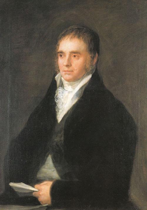 Martin de Goicoechea retratado por Goya de medio cuerpo vestido con casaca negra y chaleco y camisa blanca,la fuerza aparece en el rostro, hombre sosegado a pesar de la berruga jnto a la boca.