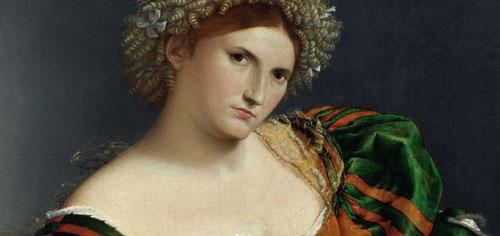 Retrato de mujer inspirada en Lucrecia,1530.Óleo 95x105cm.National Gallery,Londres.Uno de los personajes más potentes de la obra de Lotto,paradigma de integridad moral y castidad,la historia de la heroina romana del SVI AC,violada por Tarquino se suicidó.