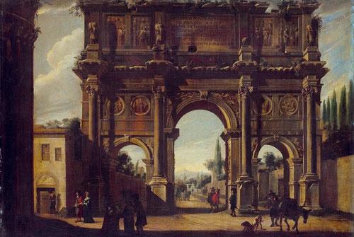 Viviano Codazzi, El arco de Constantino.1650-60.Compiègne.Depósito del Museo del Louvre. Óleo sobre lienzo.100cmx137cm