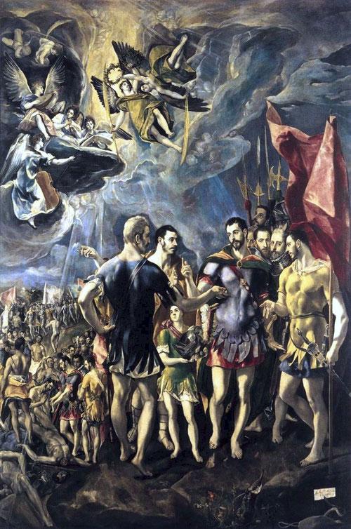 El cielo lo transforma en una escenografia esencial, único espacio propicio para la pintura religiosa, que no gustó en absoluto a Felipe II. El Martirio de San Mauricio y la legión tebana,1580.Monasterio de San Lorenzo del Escorial.