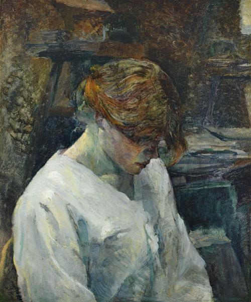 Toulouse Lautrec. La pelirroja con blusa blanca 1889. Óleo sobre lienzo.60x50cm.Museo Thyssen. Su tez blanquecina incrementa su aspecto vulnerable y  y melancólico.Conoció de primera una población obrera, prostitutas enfermas vergonzosamente explotadas.