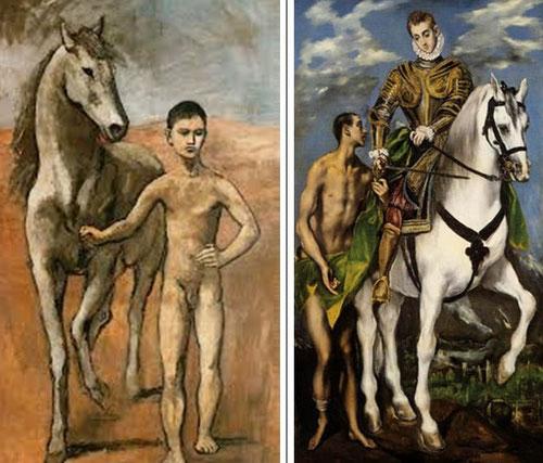 Al igual que Cézanne, Picaso denota la búsqueda de una síntesis muy plastica en la gestualidad elegante y refinada del Greco con San Martin y el Mendigo de 1597,Washington.