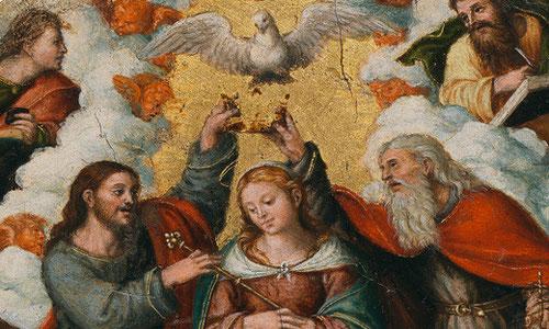 Vicente Masip, padre de Juan de Juanes,Valencia 1475.La coronación de la Virgen,despues de 1521.Óleo sobre tabla de reducidas dimensiones 23cm x 19cm!!