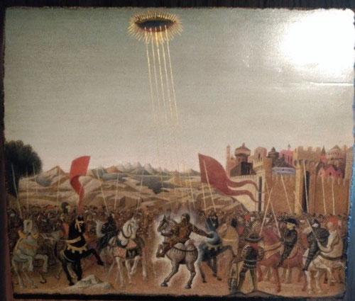 El consejero jurídico de Felipe III, duque de Borgoña describió un objeto brillante que ascendía formando una espiral, girando como las manecillas de un reloj y luego desapareció. Filippo Lippi quiso captar ese momento.