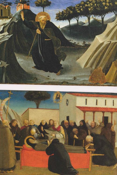Parte superior:S.Antonio Abad rechazando el oro.Abajo:Funeral de S.Antonio Abad. Temple al huevo y oro labrado sobre tabla de chopo.19x28cm.Museo del Prado Madrid. S.Antonio,uno de los primeros Padres eremitas del desierto uno de los santos de Europa.