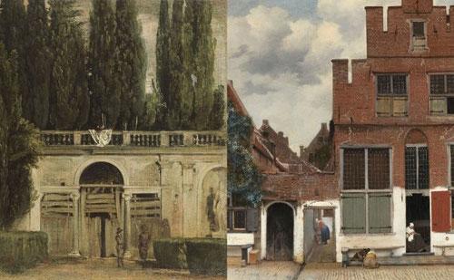 Simlitudes sorprendentes entre Velázquez:Vista del Jardín de Villa Medicci 1630 y J.Vermeer:Vista de una casa en Delft 1658.Nunca se conocieron sin embargo participan de la intención estética,asimetría,técnica abocetada y serenidad.