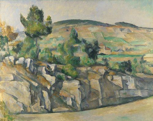 Paul Cézanne.Ladera en Provenza.1890.Óleo sobre lienzo.63x79cm.National Gallerie,Londres.Los frentes de la cantera aparecen como muros resquebrajados como ruinas de una arquitectura rústica.